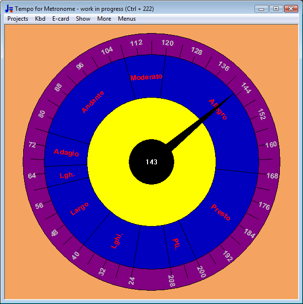 Tempo dial showing bpm round the edge, and tempo names such as Andante, Allegro etc
