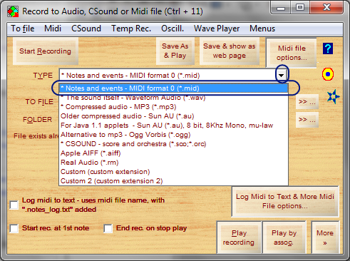 Choose midi as recording type