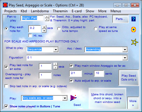 Options for Seed, Arpeggio & Scale Play buttons