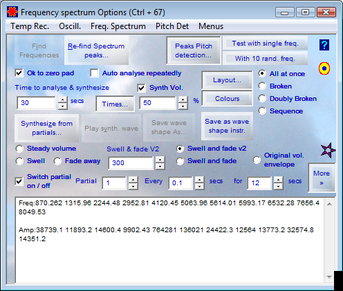 Frequency Spectrum Options