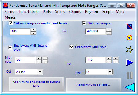 Randomise Tune Max and Min Tempo and Note Ranges