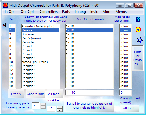 Midi Output Channels for Parts and Polyphony