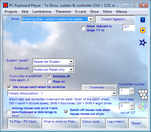 PC Keyboard Player - To Show, sustain and controller