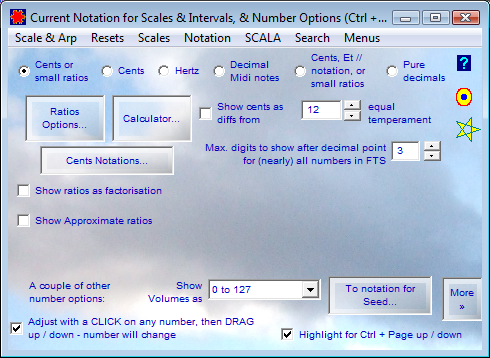 Scale Notation and Number Options