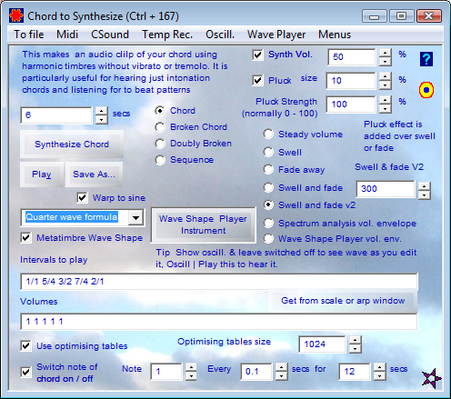 Chord to synthesize
