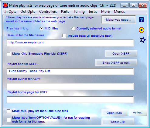 Make play lists for web page of tune midi or audio clips