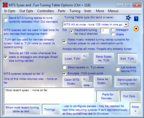 MTS Sysex and .Tun Tuning Table Options