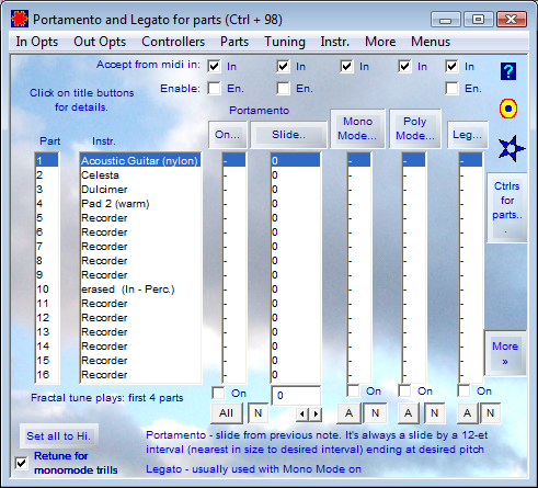 Portamento and Legato for Parts