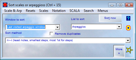 Sort Scales or Arpeggios