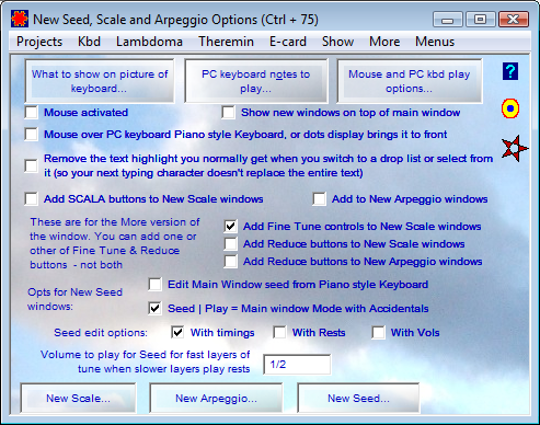 New Seed, Scale and Arpeggio Options