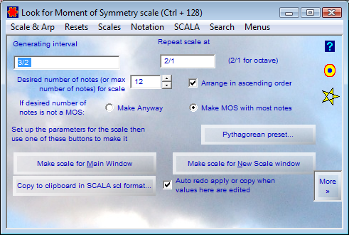 Look for Moment of Symmetry scale